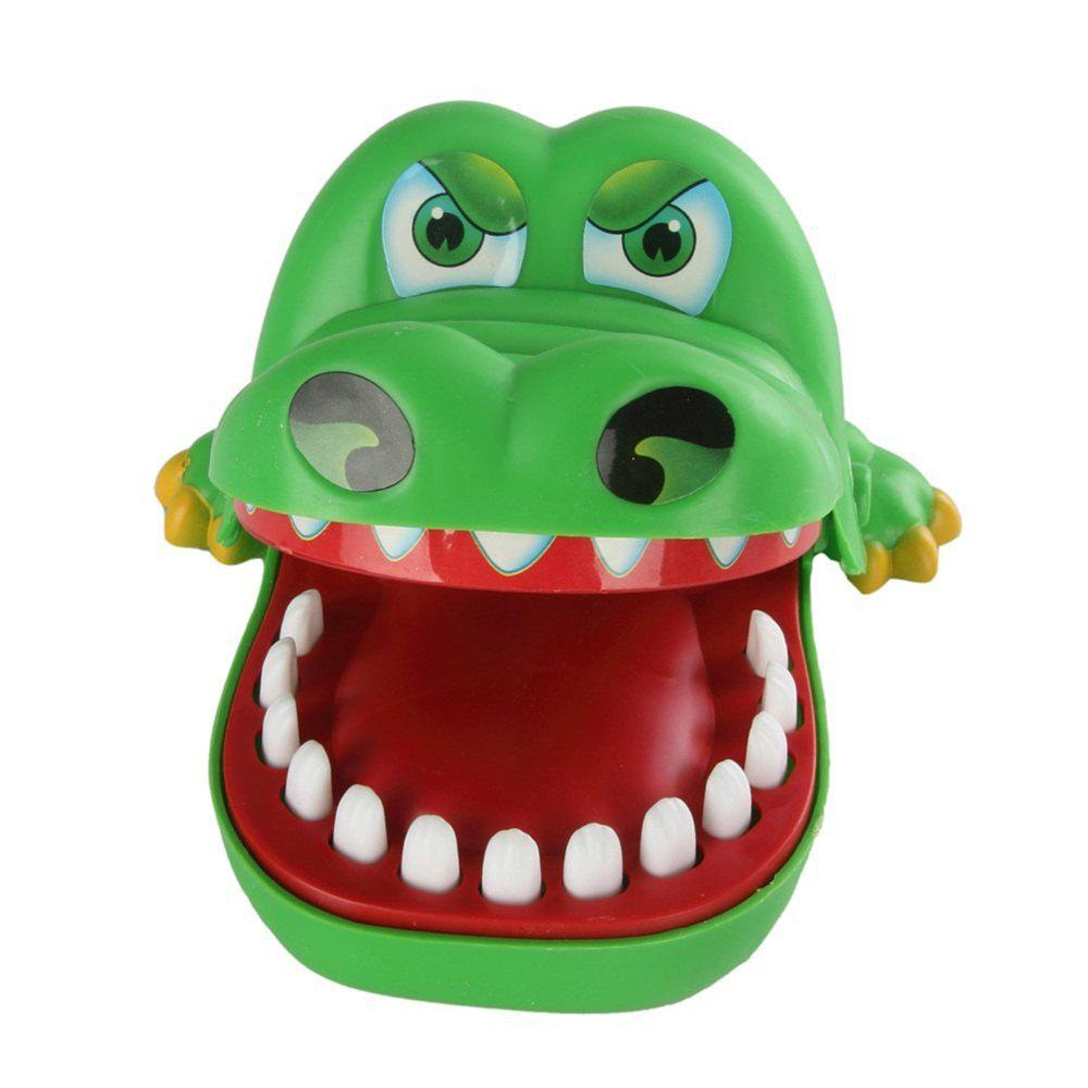 Large Crocodile Jokes Mouth Dentist Bite Finger Game Wacky Toy - FROG GREEN