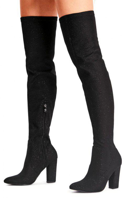 Side Zipper Glitter Boots - BLACK 39