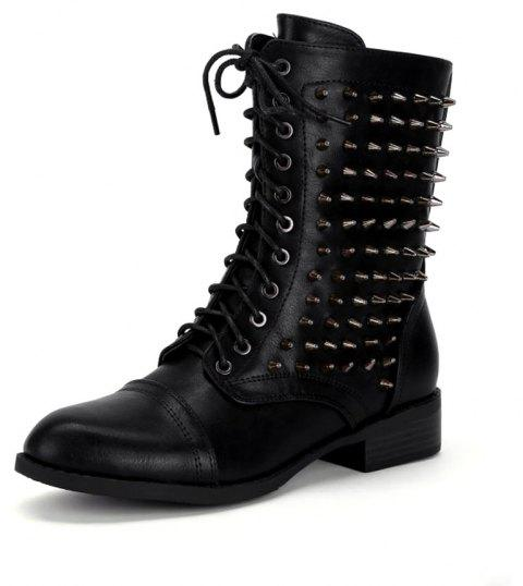 Lace Up Zipper Studded Boots - BLACK 38