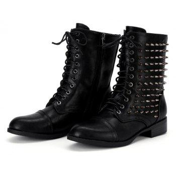 Lace Up Zipper Studded Boots - BLACK 36