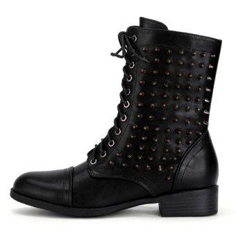Lace Up Zipper Studded Boots - BLACK 39