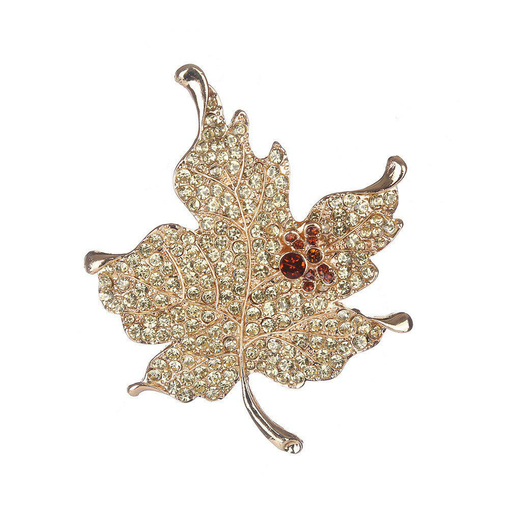 Alloy Diamond Maple Brooch - GOLD