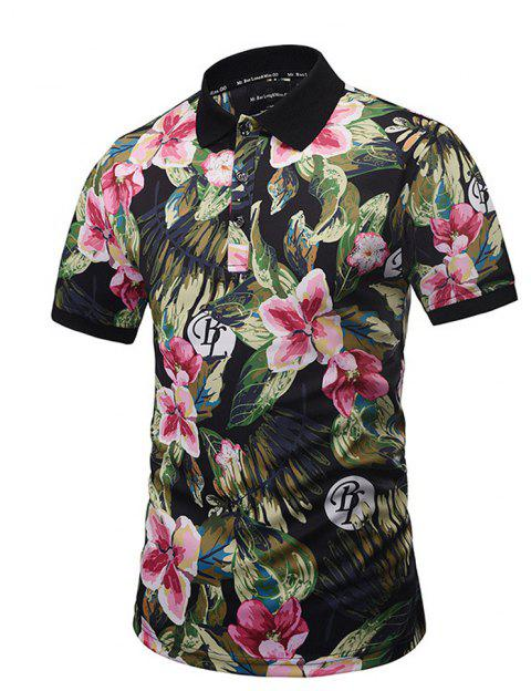 2018 Plant Oil Painting 3d Printing Polo Shirt In Multicolor A Xl