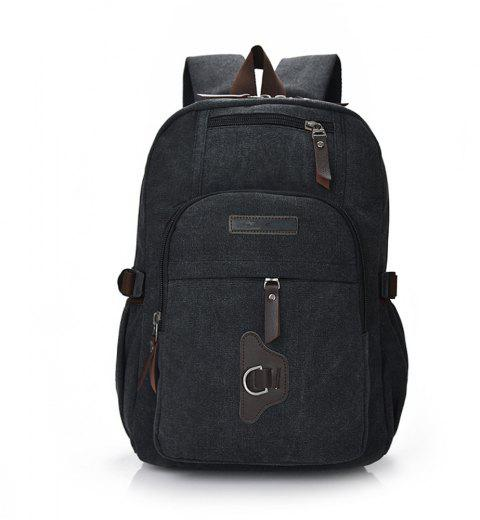 Wild Simple High-Capacity Fashion Canvas Outdoor Men'S Travel Backpack Tide - BLACK