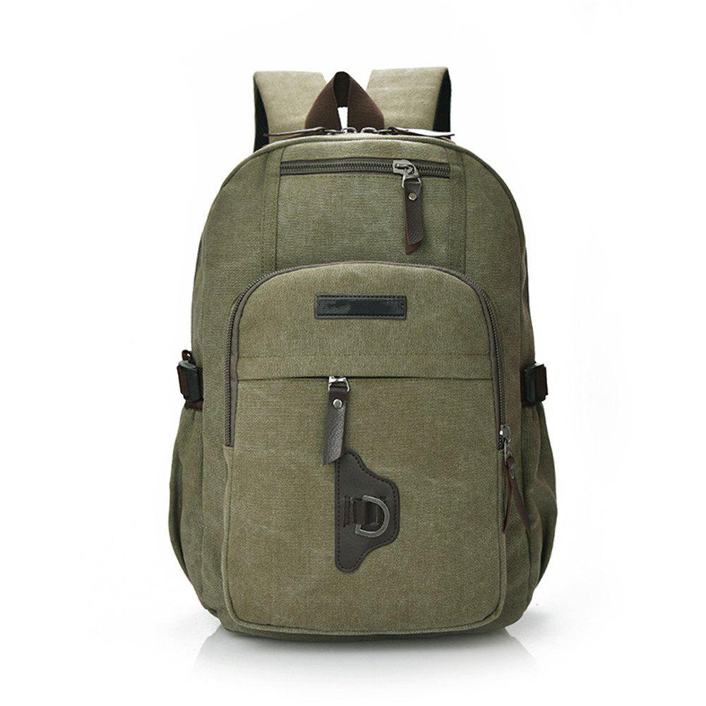 Wild Simple High-Capacity Fashion Canvas Outdoor Men'S Travel Backpack Tide - JUNGLE GREEN