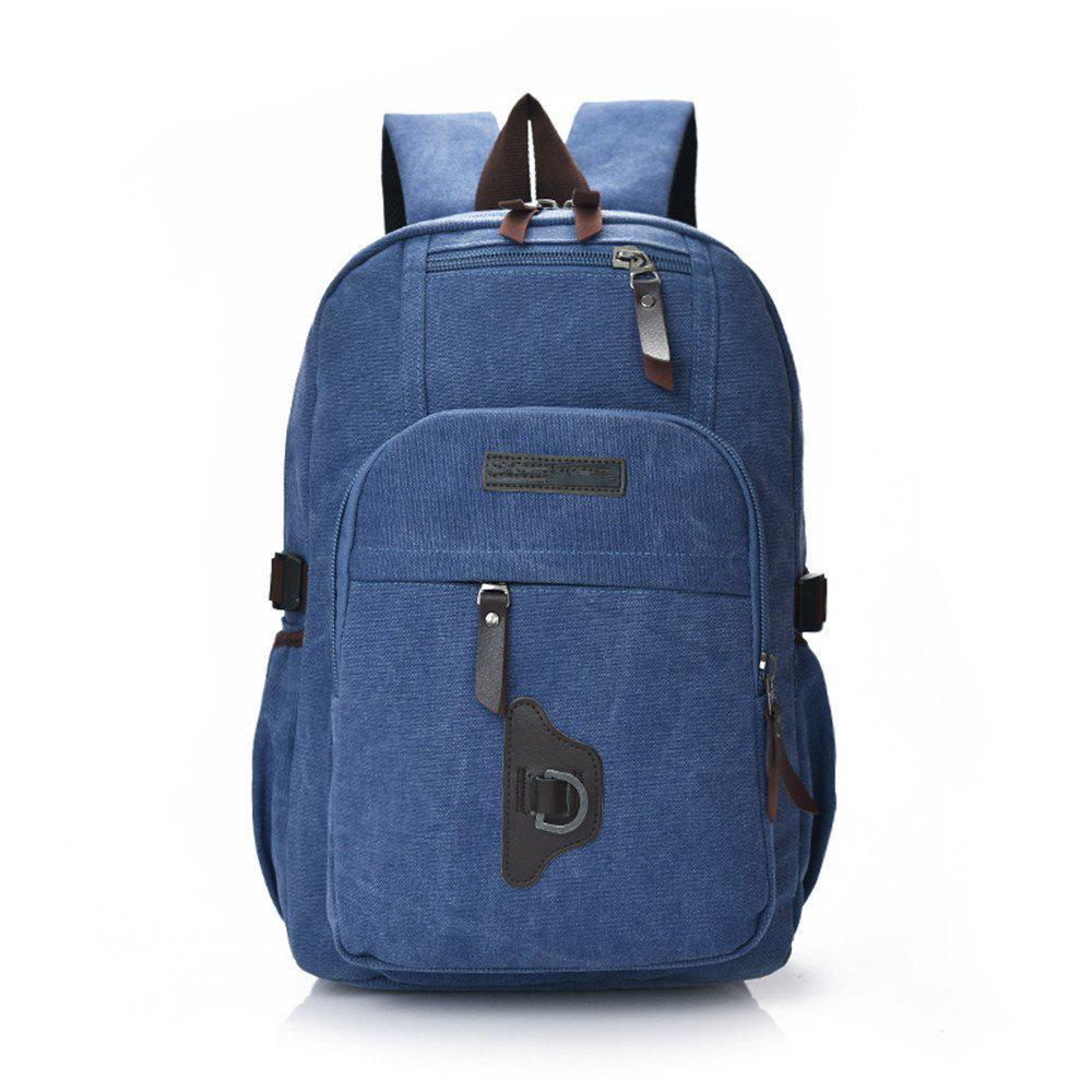 Wild Simple High-Capacity Fashion Canvas Outdoor Men'S Travel Backpack Tide - BLUE