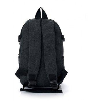 Wild Simple Large Capacity Canvas Outdoor Men'S Travel Backpack Tide - BLACK