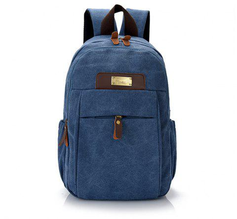 Large Capacity Simple Wild Outdoor Canvas Travel Backpack Tide - BLUE