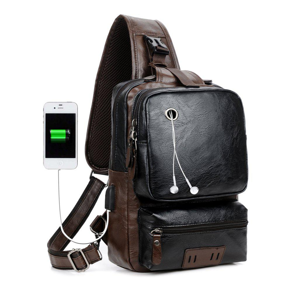 Anti-Theft External USB Charge Messenger Bag Patchwork Men Crossbody  Large Capacity Casual Travel - BLACK
