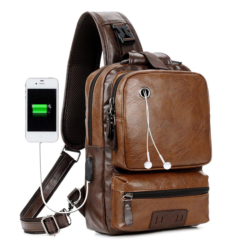 Anti-Theft External USB Charge Messenger Bag Patchwork Men Crossbody Large Capacity Casual Travel