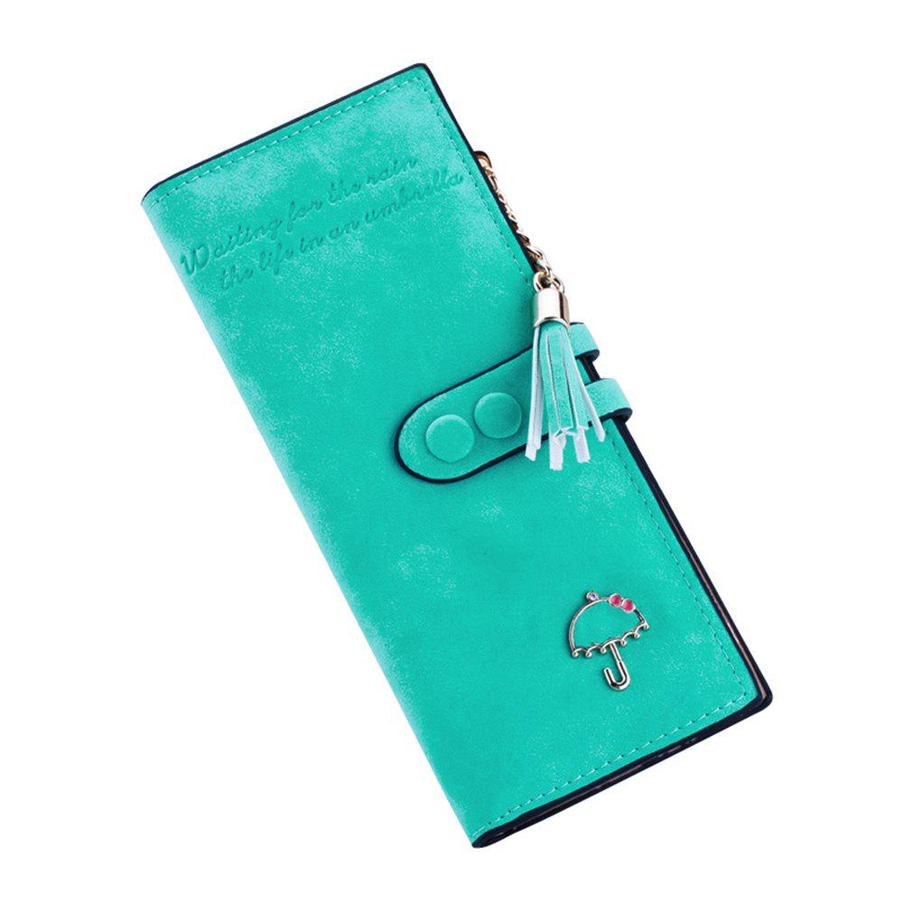 Long Umbrella Multifunctional Zipper Wallet - LIGHT SEA GREEN
