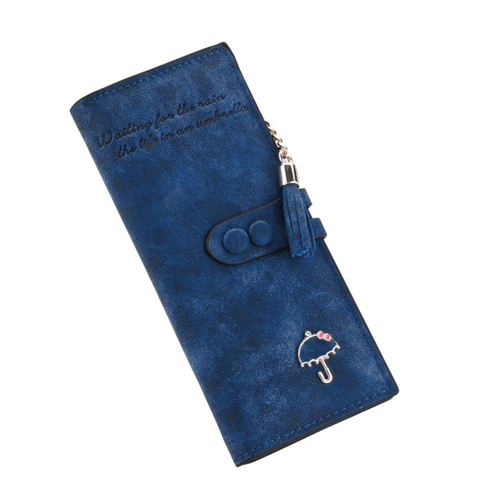 Long Umbrella Multifunctional Zipper Wallet - BLUE JAY