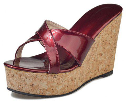 e4075ad8deda Slope Cool Slippers with High Heel Thick Bottom Muffin Sandals - RED WINE 38