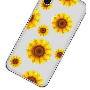 Plus Back Case Transparent Soft TPU for iPhone X Sunflower - GOLDENROD