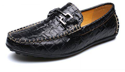 New Casual Fashion Loafers Outdoor Travel Leather Breathable Comfort Men Shoes - BLACK 43