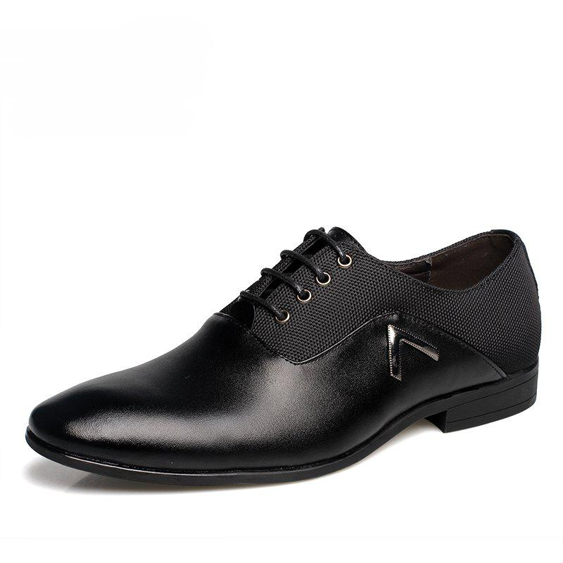 Men Classic Business Soft Pointed Toe Dress Shoes - BLACK 42