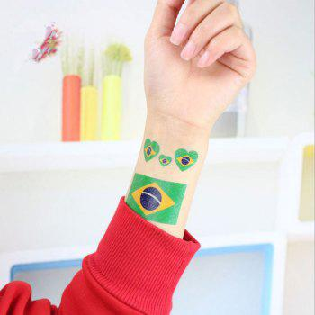 The Football World Cup Brazilian Flags Body Tattoo Stickers - multicolor