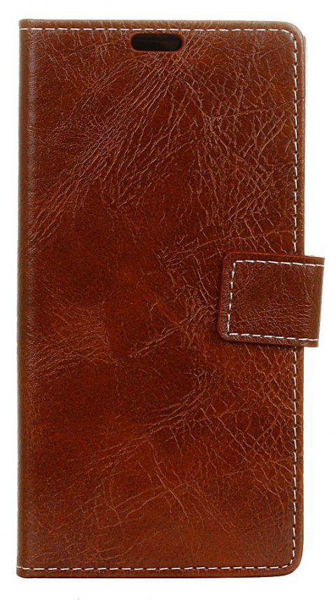 Cover Case For OnePlus 5T Genuine Quality Retro Style Crazy Horse Pattern Flip PU Leather Wallet Case - BROWN