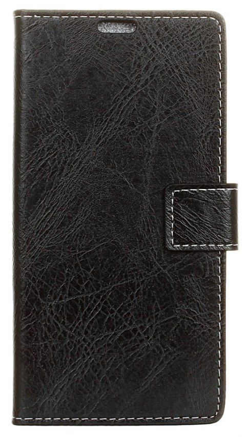 Cover Case For Doogee Mix Genuine Quality Retro Style Crazy Horse Pattern Flip PU Leather Wallet Case - BLACK