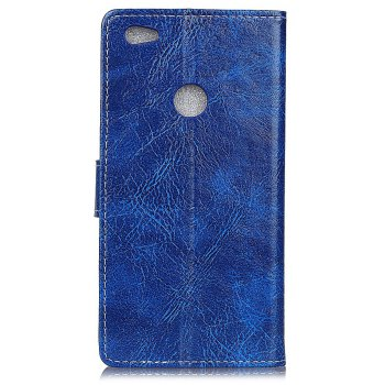 Cover Case For Xiaomi Redmi Note 5A Genuine Quality Retro Style Crazy Horse Pattern Flip PU Leather Wallet Case - BLUE