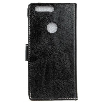 Cover Case For OnePlus 5T Genuine Quality Retro Style Crazy Horse Pattern Flip PU Leather Wallet Case - BLACK