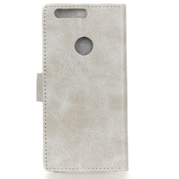 Cover Case For OnePlus 5T Genuine Quality Retro Style Crazy Horse Pattern Flip PU Leather Wallet Case - WHITE