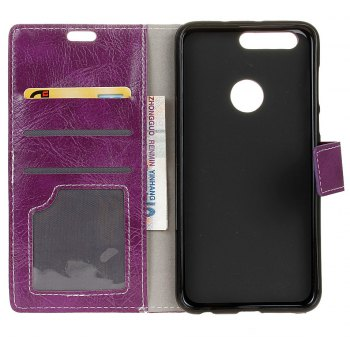 Cover Case For OnePlus 5T Genuine Quality Retro Style Crazy Horse Pattern Flip PU Leather Wallet Case - PURPLE