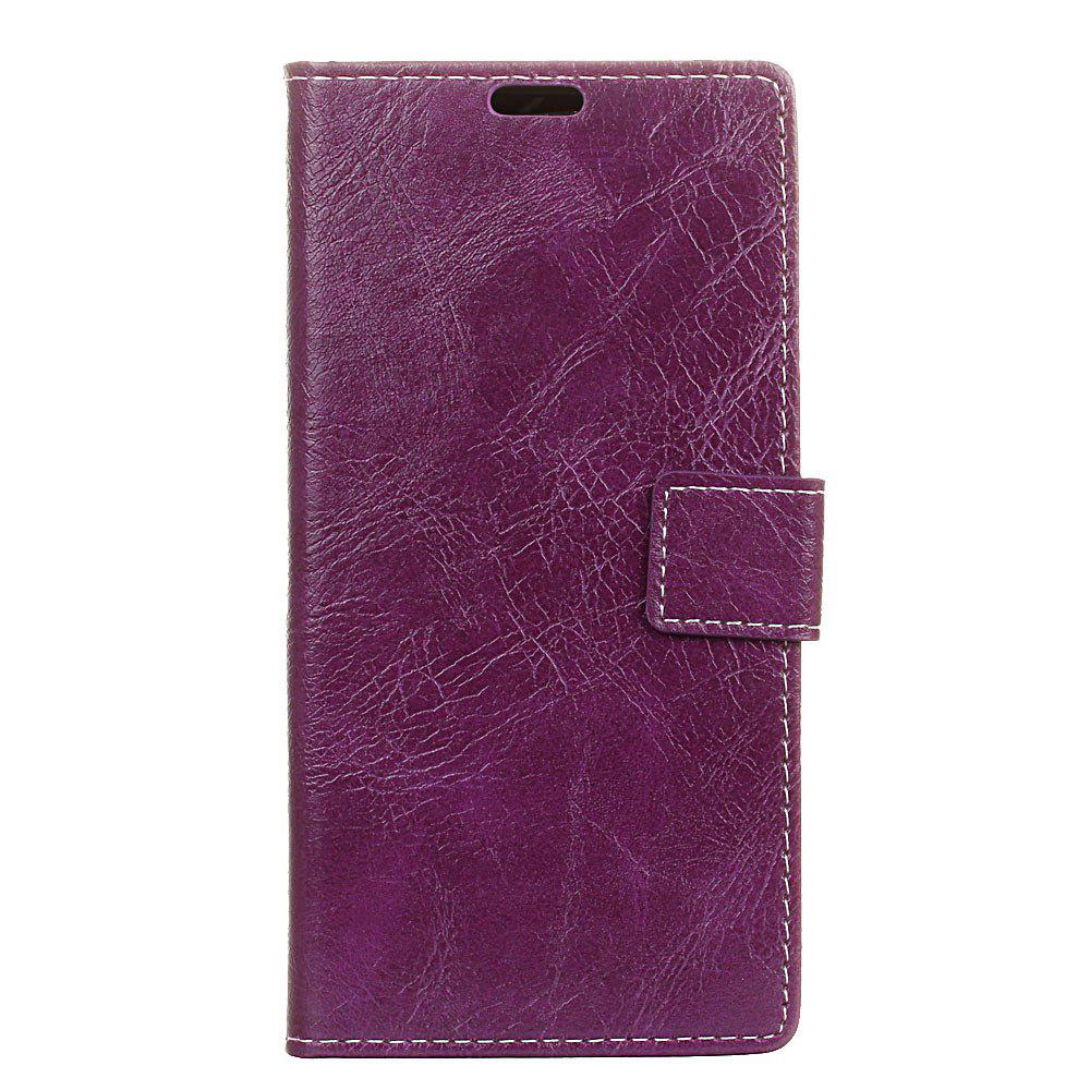 Cover Case For Xiaomi Redmi Note 5A Genuine Quality Retro Style Crazy Horse Pattern Flip PU Leather Wallet Case - VIOLET