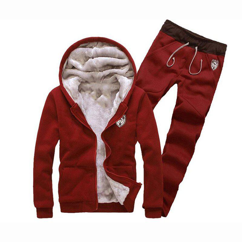Men's Sports Casual Daily Hoodie Solid Hooded Micro elastic Cotton Long Sleeves Suit - RED 3XL