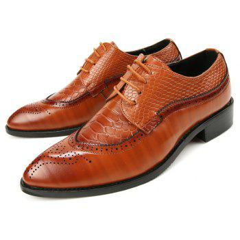 ZEACAVA Men Fashion Classic Bright Wedding Business Leather  Bullock Shoes - SAND 40