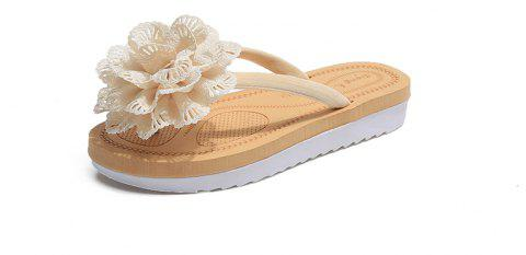 Floral Foot Slippery Flat Bottom Shoes - BEIGE 40