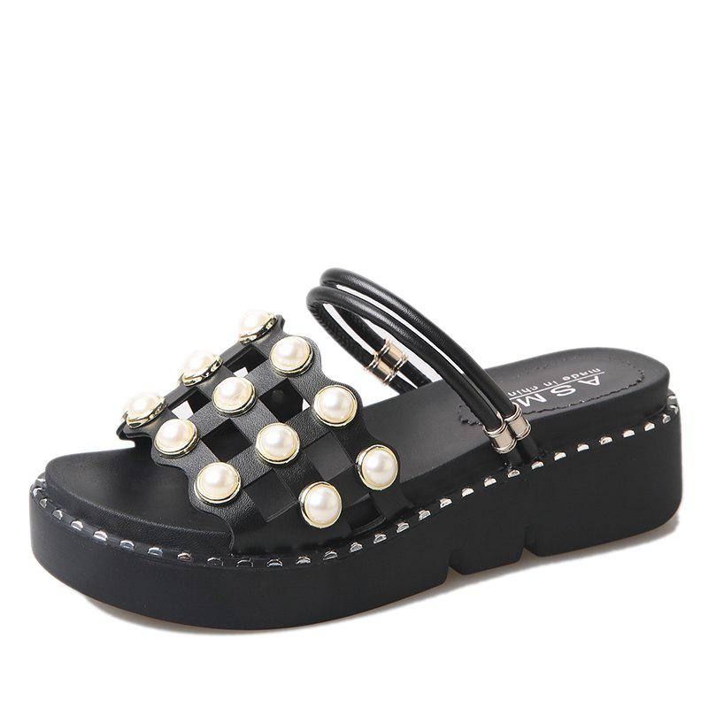 Pearl Grid Thick Bottom Antiskid Sand Two Wear Slippers - BLACK 37