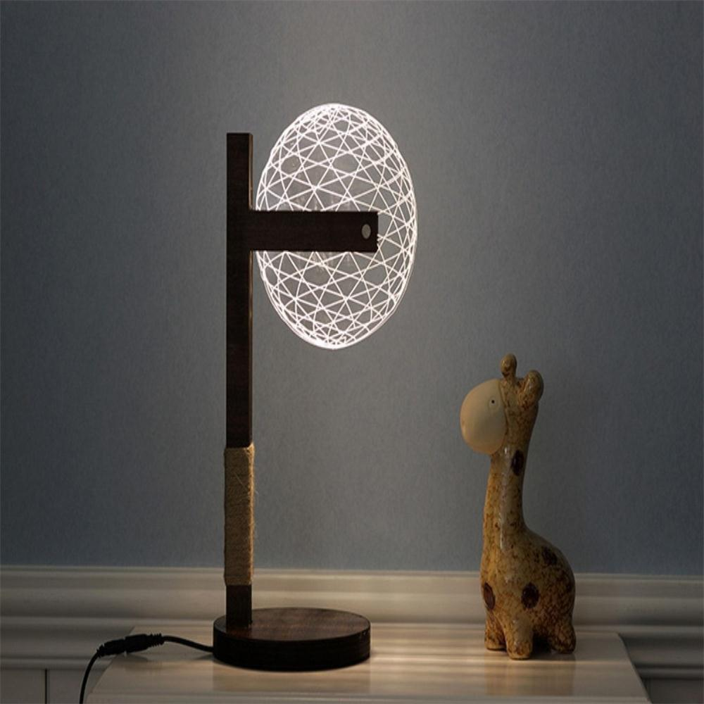3D Visual Creative Solid Wood Night Light Bedside Lamp creative solid wood desk lamp for 3d stereoscopic vision