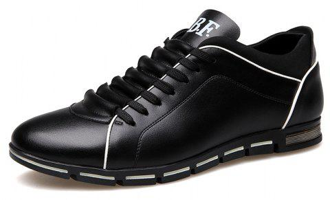 New Casual Fashion Leather for Men Summer Men's Flat Shoes - BLACK 46
