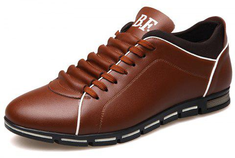 New Casual Fashion Leather for Men Summer Men's Flat Shoes - BROWN 46