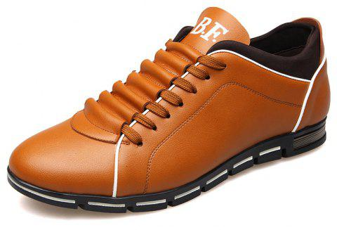 New Casual Fashion Leather for Men Summer Men's Flat Shoes - GOLDEN BROWN 44