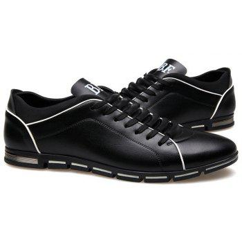 New Casual Fashion Leather for Men Summer Men's Flat Shoes - BLACK 44