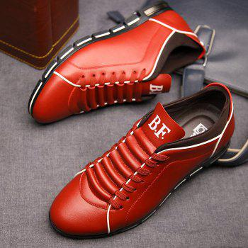 New Casual Fashion Leather for Men Summer Men's Flat Shoes - CHILLI PEPPER 37