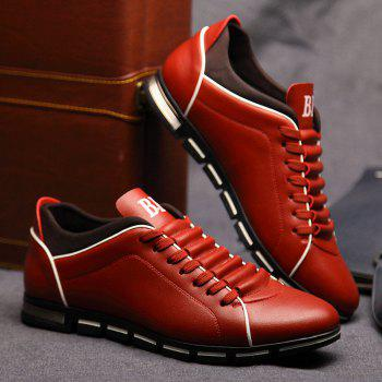 New Casual Fashion Leather for Men Summer Men's Flat Shoes - CHILLI PEPPER 41