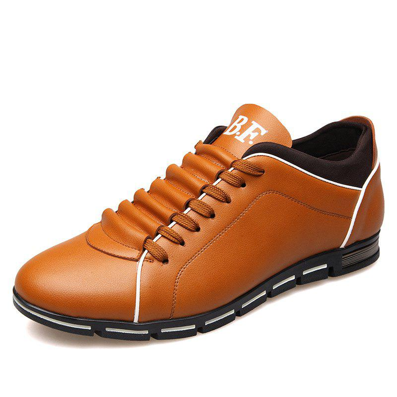 New Casual Fashion Leather for Men Summer Men's Flat Shoes - GOLDEN BROWN 40