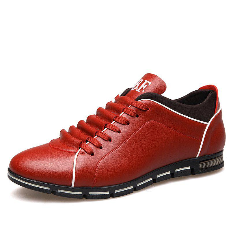 New Casual Fashion Leather for Men Summer Men's Flat Shoes - CHILLI PEPPER 38