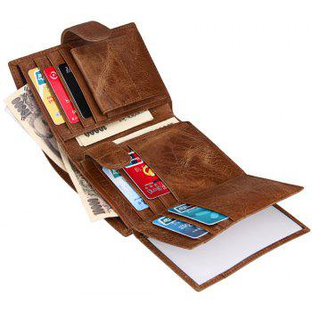 Short Genuine Leather Men Rfid Wallet Cowhide Cover Coin Purse Male Wallets - DARK GOLDENROD