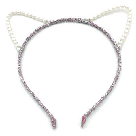 Pearl Cat Ear Hair Hoop Fashion Contracted Headband Hairpin - PINK