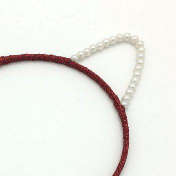 Pearl Cat Ear Hair Hoop Fashion Contracted Headband Hairpin - RED