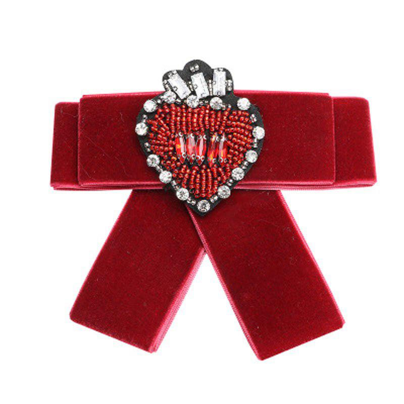 Fashion Alloy Crystal Measle Villi Ribbon Bow Brooch Female Accessories - RED