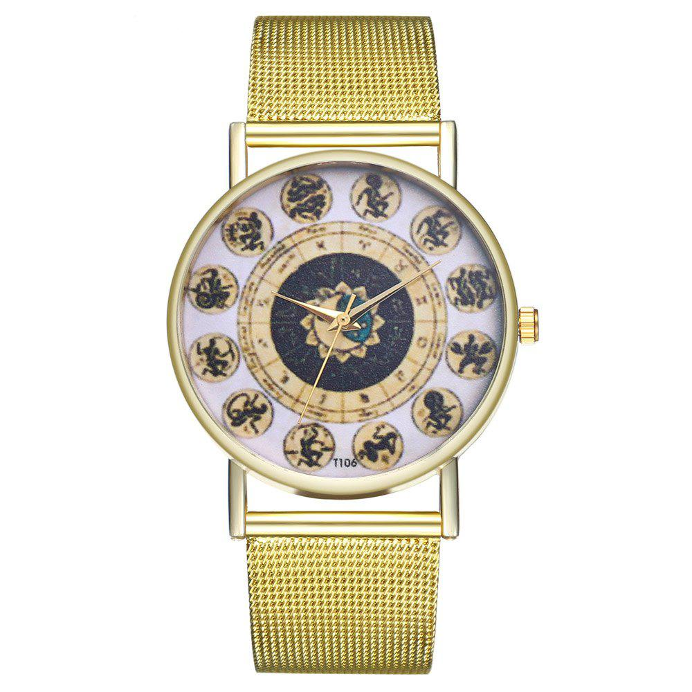 ZhouLianFa T106 Fashion Twelve Character Pattern Quartz Watch - GOLD