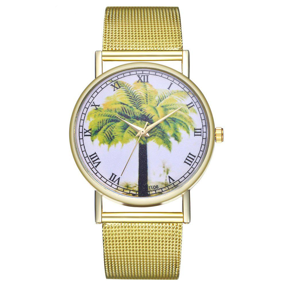 ZhouLianFa 108 Stylish Coconut Tree Pattern Quartz Watch - GOLD