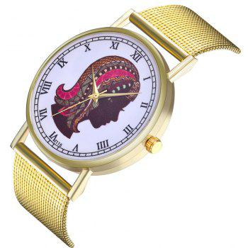 ZhouLianFa T115 Fashion Cartoon Woman Pattern Quartz Watch - GOLD