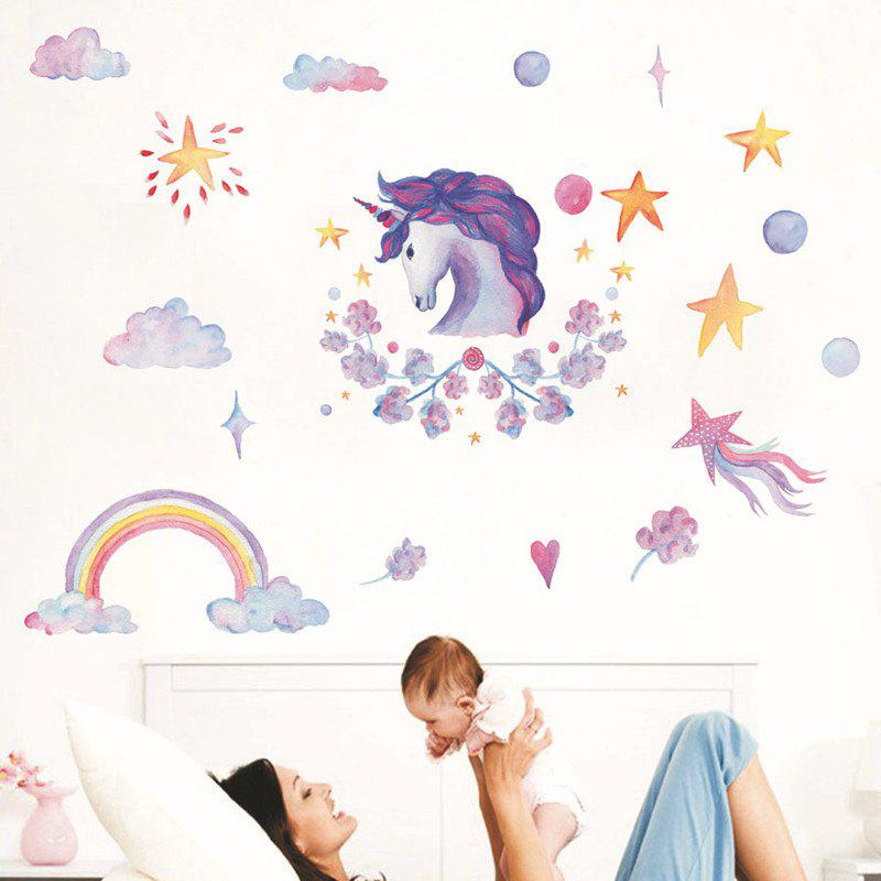 Crayon Style Wallpaper Stickers Removable Unicorns Rainbow Clouds Stars star wars alphabet style removable wallpaper