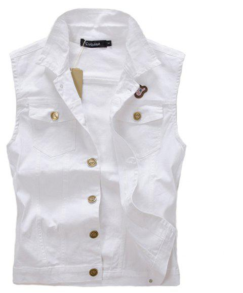 Men's  Solid Labeling Single Breasted Sleeveless Fashionable Vest Jacket - MILK WHITE L